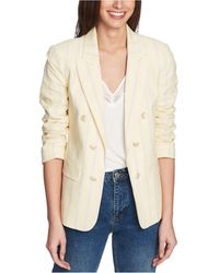 1.STATE Striped Ruched-sleeve Blazer - Natural