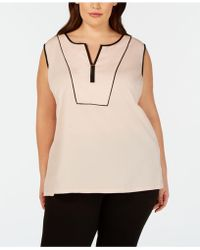 0e985213a5e Calvin Klein - Plus Size Contrast-piping Top - Lyst