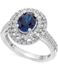 Macy's - Lab-created Blue Sapphire (1-3/4 Ct. T.w.) & White Sapphire (1/2 Ct. T.w.) Ring In Sterling Silver - Lyst