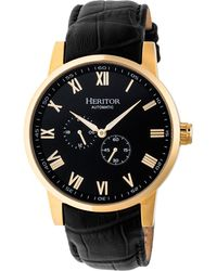 Heritor - Automatic Romulus Gold & Black Leather Watches 44mm - Lyst