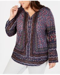 Style & Co. - Plus Size Mixed-print Lantern-sleeve Top, Created For Macy's - Lyst