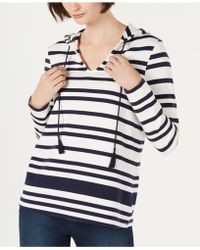 Charter Club Striped Hoodie Top, Created For Macy's - Multicolor