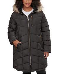 Calvin Klein Plus Size Faux-fur Trim Hooded Puffer Coat - Black