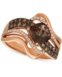 Le Vian - Chocolate Quartz® (1-1/4 Ct. T.w.) & Diamond (1/2 Ct. T.w.) Twist Ring In 14k Rose Gold - Lyst