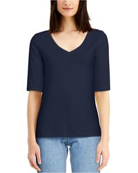 Charter Club Cotton Elbow-sleeve T-shirt, Created For Macy's - Blue