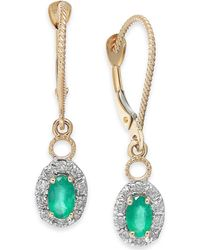 Macy's - Emerald (5/8 Ct. T.w.) & Diamond (1/5 Ct. T.w.) Drop Earrings In 14k Gold - Lyst