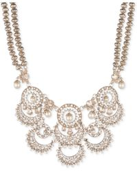 """Marchesa - Gold-tone Crystal & Imitation Pearl Beaded 16"""" Statement Necklace - Lyst"""