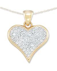 "Signature Gold Tm Diamond Accent Swarovski Crystal Heart 18"" Pendant Necklace In 14k Gold Over Resin - Metallic"