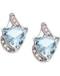 Macy's - Aquamarine (3-1/5 Ct. T.w.) & Diamond (1/8 Ct. T.w.) Stud Earrings In 14k White Gold - Lyst