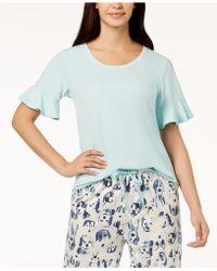 Hue - ® Solid Flounce-sleeve Pajama Top - Lyst