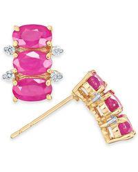 Macy's Certified Ruby (2-1/10 Ct. T.w.) & Diamond (1/20 Ct. T.w.) Stud Earrings In 14k Gold - Multicolour