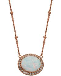 """Macy's 18k Rose Gold Over Sterling Silver With Oval Lab Created Opal And Cubic Zirconia 18"""" Necklace - Metallic"""