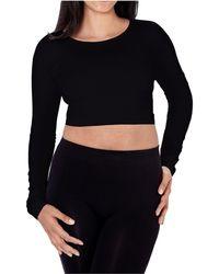Skinnytees Long Sleeve Crop Top - Black
