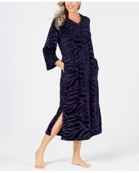 Miss Elaine - Micro-embossed Velour Long Zip Robe - Lyst