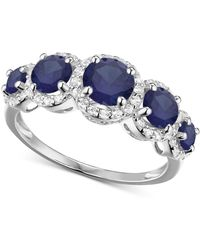 Macy's - Simulated Sapphire And Cubic Zirconia Ring In Sterling Silver - Lyst
