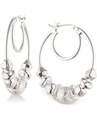 Nine West | Silver-tone Multi-bead Hoop Earrings | Lyst