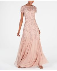 Adrianna Papell Petite Floral-beaded Gown - Pink