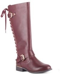 Wanted Lounge Lace-back Riding Boots - Purple