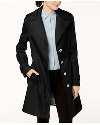 Calvin Klein Petite Belted Hooded Water Resistant Trench Coat, Created For Macys - Black