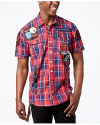 Heritage America Men's Plaid Patch Shirt - Red