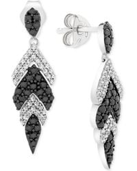 Macy's - Wrapped In Lovetm Diamond Feather Drop Earrings (1 Ct. T.w.) In 14k White Gold, Created For - Lyst