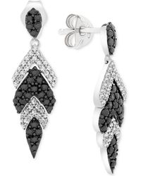 Wrapped in Love - Tm Diamond Feather Drop Earrings (1 Ct. T.w.) In 14k White Gold, Created For Macy's - Lyst