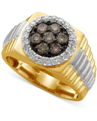 Macy's - Men's Diamond Cluster Two-tone Ring (1 Ct. T.w.) In 10k Yellow And White Gold - Lyst