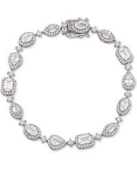 Arabella Swarovski Zirconia Halo Link Bracelet In Sterling Silver - Metallic