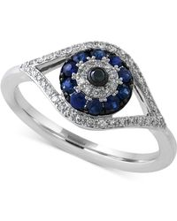 Effy Collection - Effy Sapphire (1/4 Ct. T.w.) And Diamond (1/6 Ct. T.w.) Eye Ring In 14k White Gold - Lyst