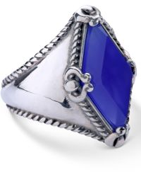 Carolyn Pollack - Blue Agate (10x20mm) Kite Ring In Sterling Silver - Lyst