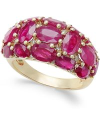 Macy's - Certified Ruby (6 Ct. T.w.) And Diamond (1/8 Ct. T.w.) Dome Ring In 14k Gold - Lyst