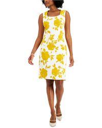 Kasper Floral-print Dress - Yellow