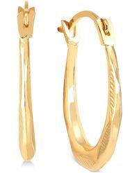 Macy's - Oval Hoop Earrings In 10k Gold - Lyst