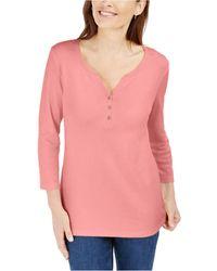 Karen Scott Petite Cotton 3/4-sleeve Henley Top, Created For Macy's - Pink
