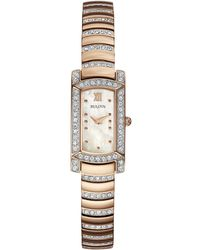 Bulova - Women's Crystal Accent Rose Gold-tone Stainless Steel Bracelet Watch 29x15mm 98l205 - Lyst
