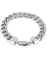 """Macy's Cuban Link (11-3/4mm) 8 1/2"""" Chain Bracelet In Yellow Ip Over Stainless Steel (also In Black Ip And Stainless Steel) - Metallic"""