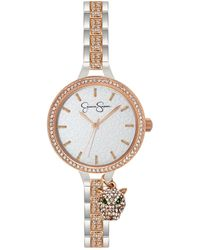 Jessica Simpson Pave Crystal Panther Charm Two Tone Bracelet Watch 36mm - Pink