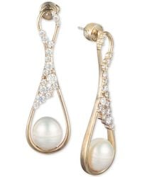 Carolee - Gold-tone Crystal & Freshwater Pearl (9mm) Drop Earrings - Lyst