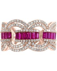 Effy Collection Effy® Certified Ruby (9/10 Ct. T.w.) & Diamond (3/4 Ct. T.w.) Ring In 14k Rose Gold - Red