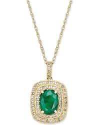 Macy's - Emerald (1-1/10 Ct. T.w.) And Diamond (1/3 Ct. T.w.) Pendant Necklace In 14k Gold - Lyst