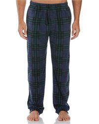 Perry Ellis Portfolio Relaxed-fit Plaid Fleece Pajama Pants - Blue