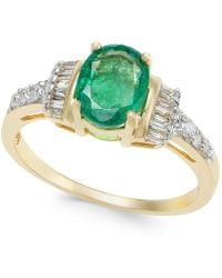 Macy's | Emerald (1-1/3 Ct. T.w.) And Diamond (1/4 Ct. T.w.) Ring In 14k Gold | Lyst