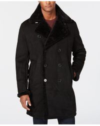 Guess Faux-shearling Overcoat - Black
