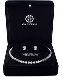 Giani Bernini | Cubic Zirconia Tennis Bracelet And Stud Earrings Set In Sterling Silver | Lyst