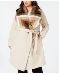 Alfani - Plus Size Faux-fur Collar Belted Coat, Created For Macy's - Lyst