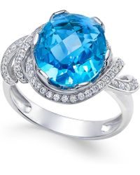 Macy's - Swiss Blue Topaz (4-9/10 Ct. T.w.) And White Topaz (1/3 Ct. T.w.) Ring In Sterling Silver - Lyst
