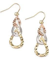 Macy's - Tri-tone Hammered Teardrop Earrings In 10k Gold - Lyst