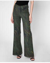 Nicole Miller Camo Swirl Wide Leg Jeans - Green