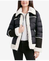 Tahari Faux-fur-trim Puffer Coat - Black