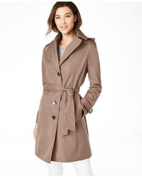 Calvin Klein Belted Water-resistant Trench Coat, Created For Macys - Natural
